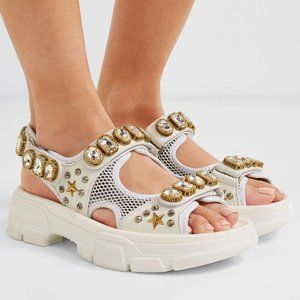 GUCCI Embellished Leather Mesh Aguru Jewel Sandals